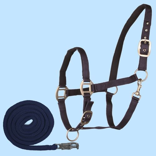 Halfter + Strick Set Waldhausen SATIN dunkelblau, Shetty Pony COB FULL
